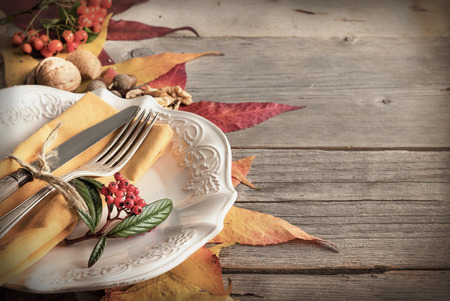 thanksgiving dinner: Autumn rustic table setting with berries, leaves, acorns and nuts Stock Photo