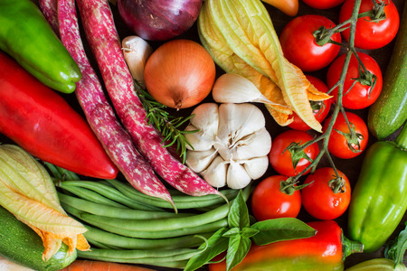 ingridients: Raw fresh vegetables representing healthy food - top view Stock Photo