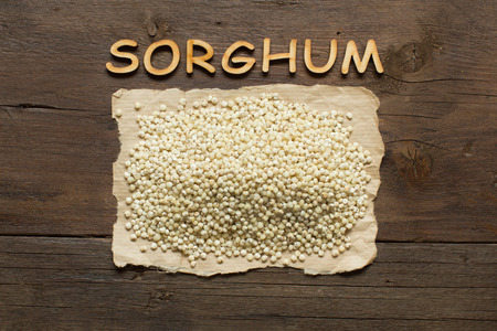 morsel: White Sorghum grain with wooden letters on the wooden table