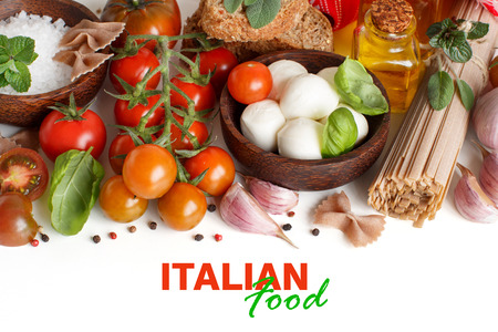 olive green: Italian cooking ingridients : mozzarella, tomatoes, garlic, herbs,  olive oil and other