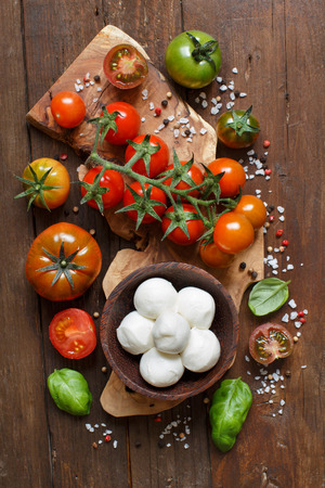 olive green: Italian cooking ingridients : mozzarella, tomatoes, basil, olive oil and other Stock Photo
