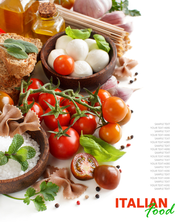 ingridients: Italian cooking ingridients : mozzarella, tomatoes, garlic, herbs,  olive oil and other