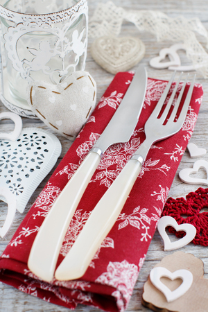 dinne: Valentine day rustic table setting on a wooden table Stock Photo