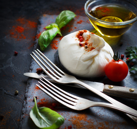 Italian cheese burrata, tomatoes, basil and olive  oil Archivio Fotografico