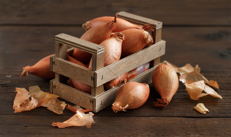 Organic onion on wooden table close up