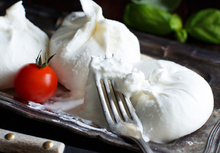 Italian cheese burrata with tomatoe and basil on a dark background