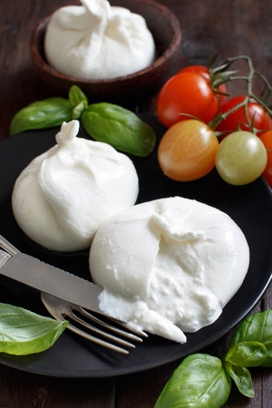 Italian cheese burrata with tomatoes and herbs on a dark background