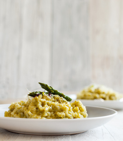 Asparagus risotto with parmesan and taleggio close up