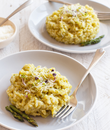 Asparagus risotto with parmesan and taleggio