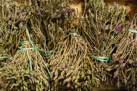 Wild thyme on the market close up
