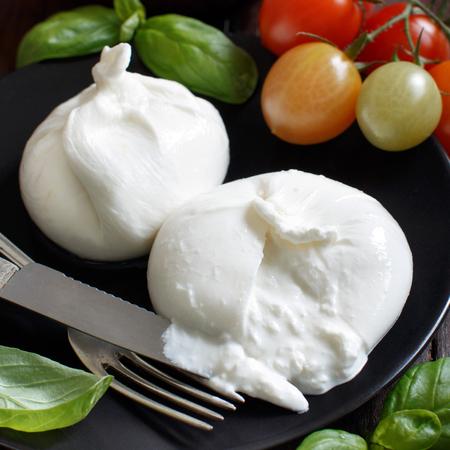 burrata formaggio italiana con pomodoro ed erbe su uno sfondo scuro