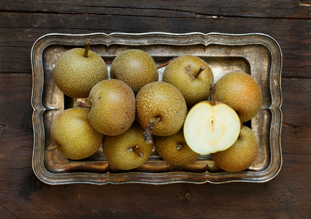 Nashi Pears (apple pears or asian pears) on a tray
