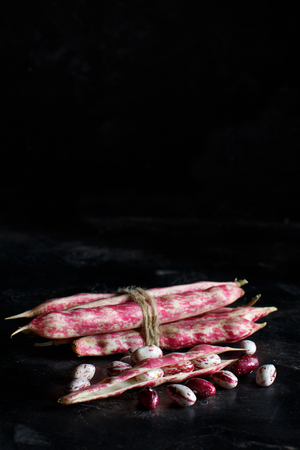 Pinto beans with pods on a dark background close up