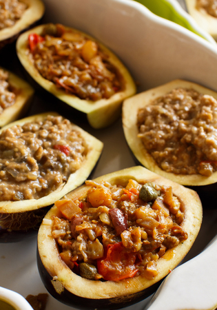 typical: Stuffed eggplant with cheese meat and tomatoes