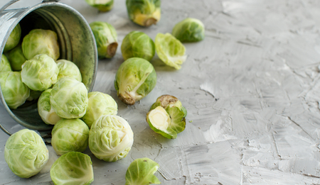Brussels sprouts  in a bucket on a grey background close up Archivio Fotografico