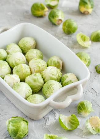 Brussels sprouts  in a baking casserole close up