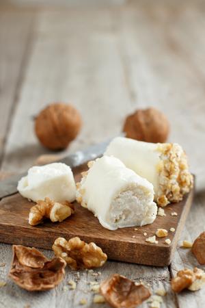 Italian mozzarella sticks stuffed with ricotta and walnuts