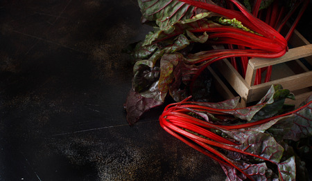 Fresh red chard from a farmers market close up