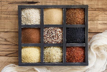 Gluten free grains - buckwheat, black lentils, amaranth, quinoa, hemp seeds, sorghum grain, teff and millet