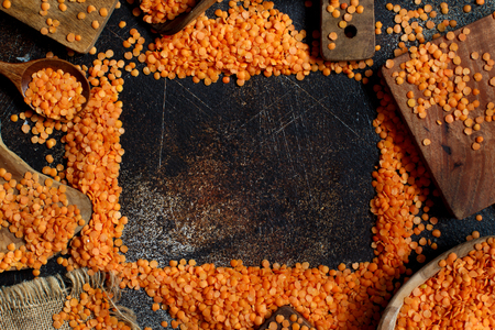 Red lentils with  top view with a copy space Archivio Fotografico