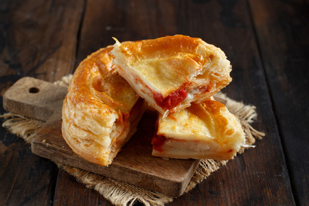 Rustico - traditional pastry from Lecce, Italy, close up 免版税图像