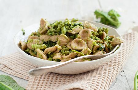 Traditional Apulia region pasta Orecchiette with turnip greens
