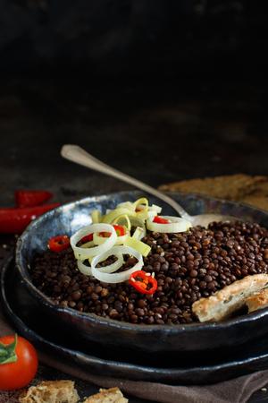 Black beluga lentils and vegetables stew close up Zdjęcie Seryjne