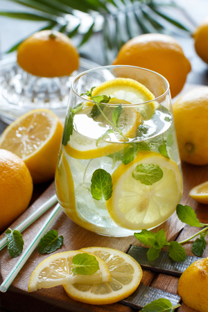 Homemade refreshing drink with lemon juice and mint close up