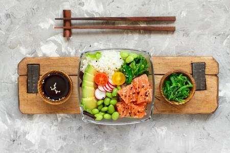 Hawaiian salmon poke salad with rice top view Stok Fotoğraf
