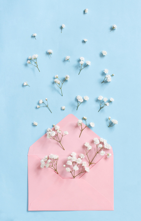 Flowers and envelope on a light blue background top view