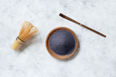 Butterfly pea blue matcha powder on a plate top view