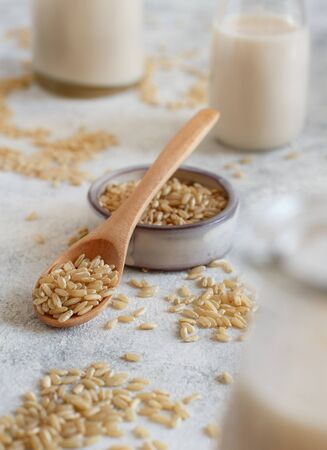 Brown rice in a wooden spoon with rice milk close up