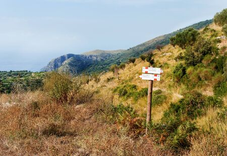 Trail sign on trekking path near Vallone di Marcellino (or French's Beach)