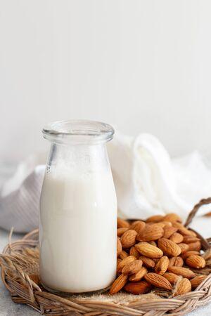 Vegan almond milk, non dairy alternative milk  in a bottle close up 스톡 콘텐츠