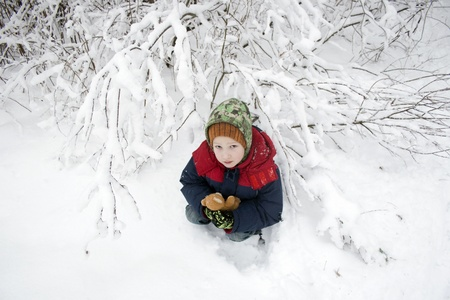 lonely child sits in the winter under a bush in the wood Stock Photo - 14840704