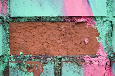Fragment of the old wall with colorful splashes of paint  photo