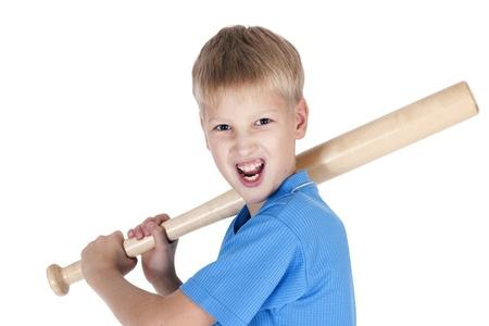 Boy and bat .Isolated on white background Stock Photo - 15568428