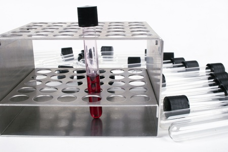 test tube holder: Medical test tube with blood in holder on white background