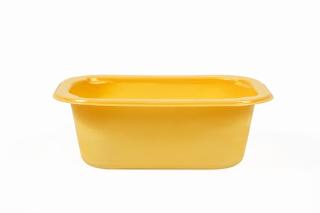 molded: Yellow Food Tray on White Background