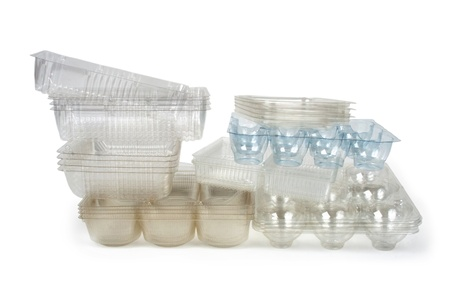 Transparent Food Trays on White Background