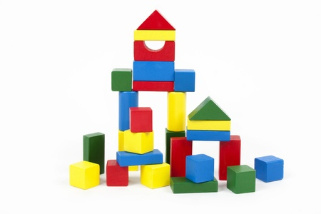 Wooden building blocks Standard-Bild