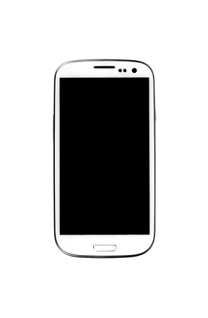 White Smartphone on white background  Stok Fotoğraf