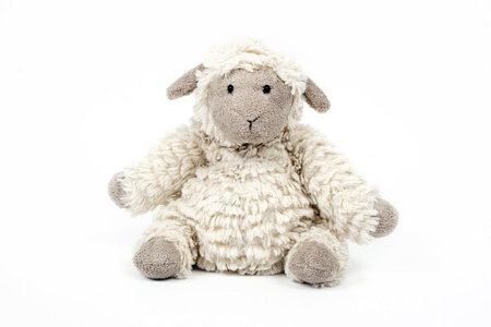 cute sheep toy isolated on a white background  Stok Fotoğraf