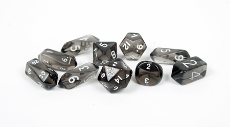 dungeons:  black dice isolated on white background