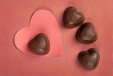 Heart from paper and candy hearts  Valentine photo