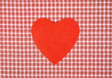 Heart from paper on a red checkered background  Valentine photo