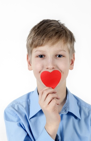 Boy with red heart photo