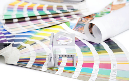 Lens and pantone  Design and prepress concept