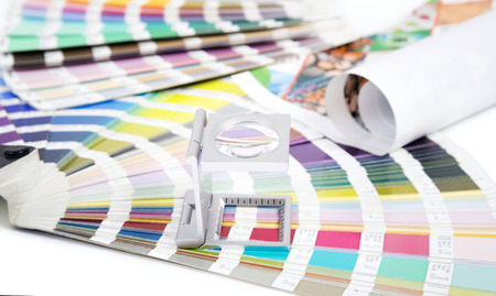 prepress: Lens and pantone  Design and prepress concept