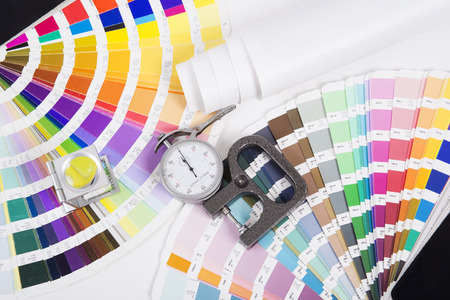prepress: Lens, pantone and micrometer  Design and prepress concept